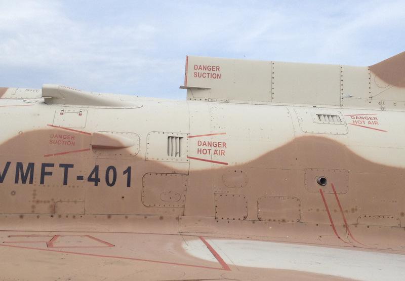 An enumeration of various dangers on the Kfir's fuselage.