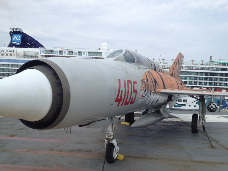 The Intrepid's MiG-21, against the backdrop of a cruise ship that happened to be hanging around.