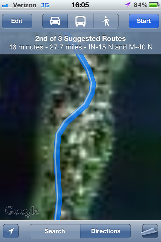 Detail of the route from Goshen to Three Rivers.