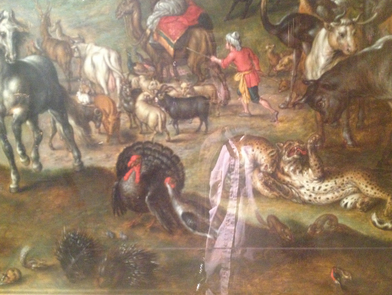 "Detail of ""Noah's Family Assembling Animals before the Ark"" with a faint reflection of your correspondent."