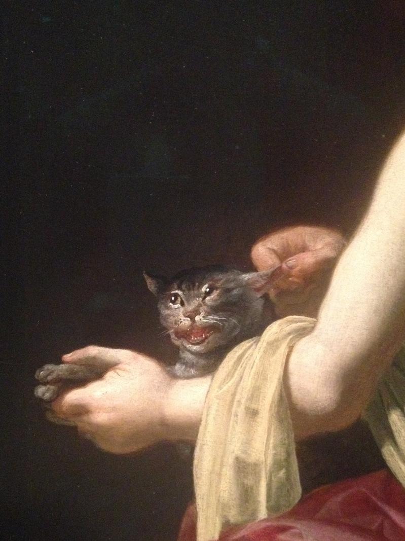 "The cat getting teased in Jan van Bijlert's ""Girl Teasing a Cat."""